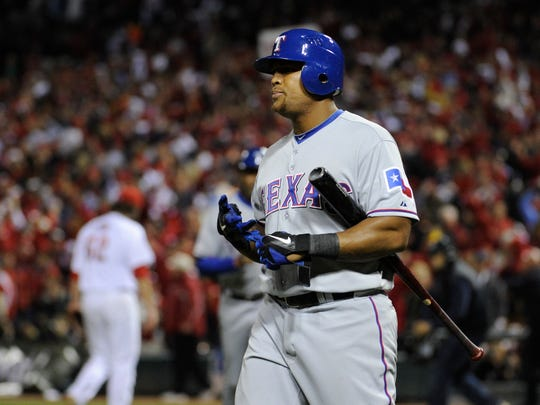 Adrian Beltre strikes out to end the eighth inning