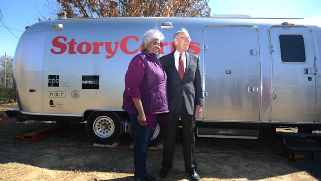 Singer Dorothy Moore, left, and former Gov. William Winter stand outside the StoryCorps MobileBooth on Thursday where both recorded personal audio stories on Thursday.  The MobileBooth will be in town until March 6 near Babalu Tacos and Tapas in Jackson's Fondren district.
