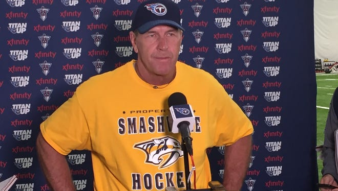 Titans coach Mike Mularkey wore a Smashville Predators T-shirt to the team's OTAs Thursday. The Predators play the Penguins in Game 5 of the Stanley Cup Final on Thursday night.