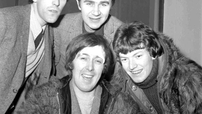 In this 1966 file photo, members of the band, the Spencer Davis Group, from top left: Muff Winwood, Pete York and Steve Winwood and Spencer Davis, foreground. British guitarist and bandleader Spencer Davis.