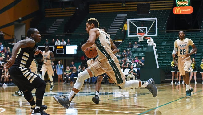 CSU's Gian Clavell drives in the Rams' win over Oakland on Sunday.