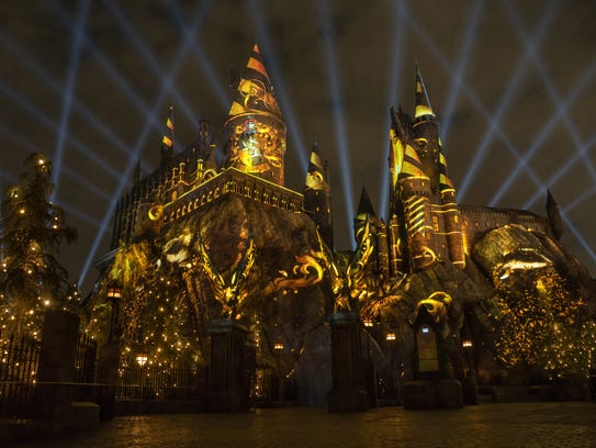 """The Nighttime Lights at Hogwarts Castle"" at ""The Wizarding"