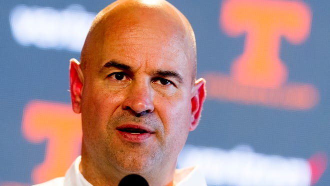 Tennessee Head Coach Jeremy Pruitt speaks at his first press conference at the Ray and Lucy Hand Studio in Knoxville, Tennessee on Wednesday, January 10, 2018.