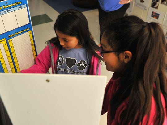 Southern Hills Elementary students Gena Rodriquez 4th grade (left) and Selena Villegas look over a weather chart in preparation for recording a mock weather forecast on their Google Chromebook Friday morning during the school district's Digital Learning Day.
