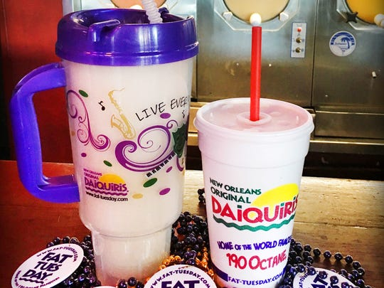 New Orleans Original Daiquiris offers a king cake daiquiri during the Mardi Gras season.
