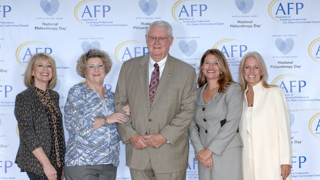 From left, Hawkins, Eileen Packer, Ricardo Loretta, Meegan Sullivan and Andrea Spirtos during the National Philanthropy Day eighth annual Awards Luncheon.