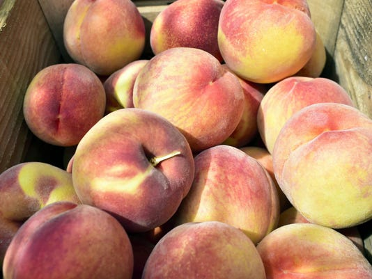Freshly picked peaches are is seen Friday at Toigo Orchard, Shippensburg.