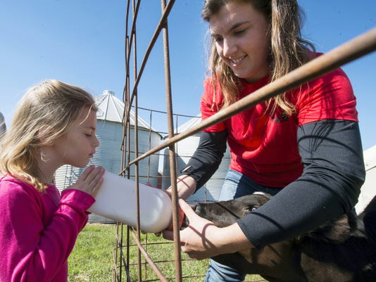 Madeline Grimes, 4, left, of York Township, feeds a calf with Gabrielle Wentworth during the farm tour Sunday at Alta Vista Farm in Lower Chanceford Township. Wentworth was the Pennsylvania and York County Dairy Princess in 2011 and 2012. Vistors had the opportunity to tour four farms in York County on Sunday to learn more about how they operate.
