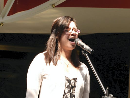 Haley Goodling, one of four chosen for the Lebanon Idol finals, performs a selection during the first preliminary round of the 2015 contest Saturday at Lebanon Valley Mall.