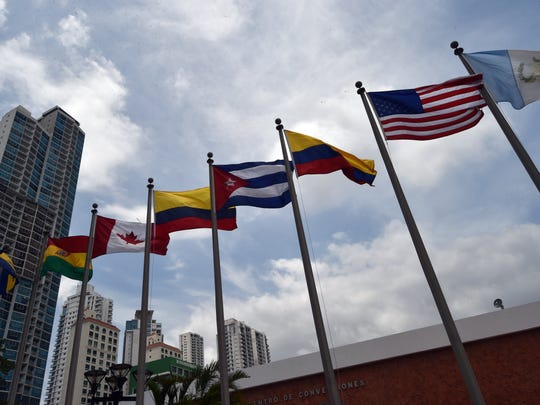 Flags are seen in front the Atlapa Convention Center