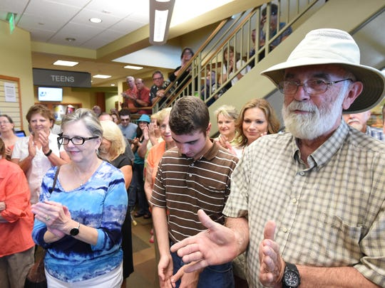 A large crowd that included family, friends, officials and library patrons crammed into the teen section of the Donald W. Reynolds Library for Gwen Khayat's retirement ceremony on Tuesday.