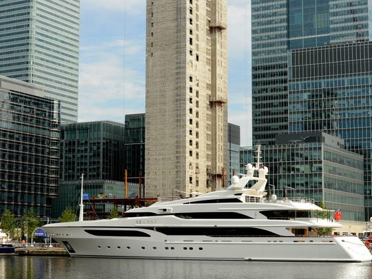 Yachts along Canary Wharf in London.