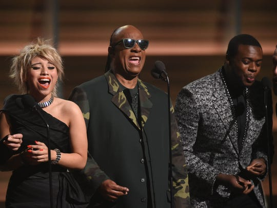 Pentatonix and Stevie Wonder (center) played glorious