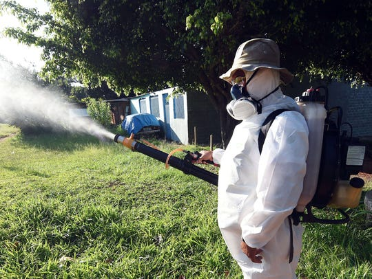 A member of the National Health Foundation fumigates