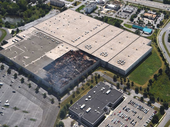This aerial shot of the Gap Inc. distribution center in Fishkill shows the damage left from a fire in one of the facility's buildings late Monday night into Tuesday morning.