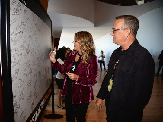 Rita Wilson and Tom Hanks attend  the Stand Up To Cancer'