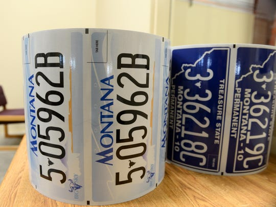 New license plates are printed on rolls of a laminate, which are then adhered to aluminum blanks at Montana State Prison's license plate shop.