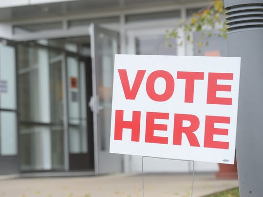 Voters cast their ballots at Fountain City Wesleyan