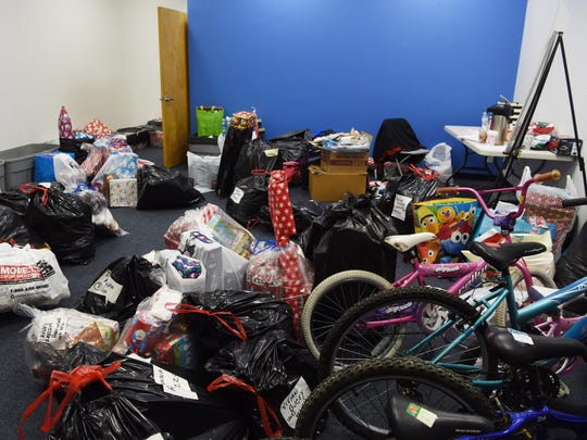 A view of some of the gifts to be given out as part of the John Flowers and His Elves Annual Christmas Giving event.