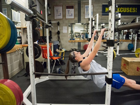 Littlestown senior Janelle Kress works out in the gym