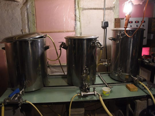 The homebrewing system set up in the basement of Manny