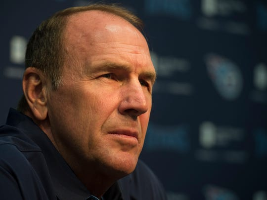 Titans head coach Mike Mularkey talks about the team's plans in the 2017 NFL Draft at St. Thomas Sports Park Tuesday, April 25, 2017, in Nashville, Tenn.
