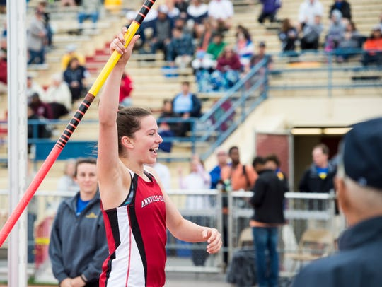 Annville-Cleona's Kayla Long reacts while competing