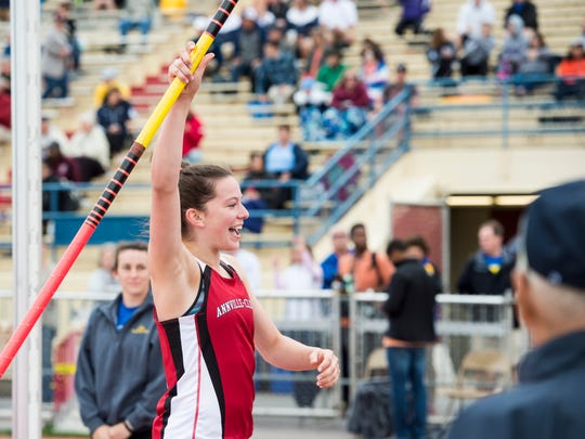 Annville-Cleona's Kayla Long reacts while competing in the pole vault during the PIAA District 3 track and field championships at Shippensburg University on Saturday, May 20, 2017.