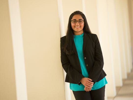 Saint Edward's junior and Intel International Science and Engineering Fair competitor Sana Shareef, 16.