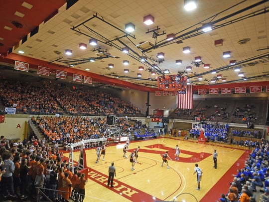 Heritage Christian and Crawford County battle for a Class 2A semistate title in 2017 at Richmond's Tiernan Center.