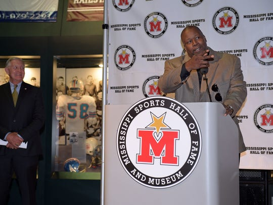 Marcus Dupree speaks at a news conference announcing