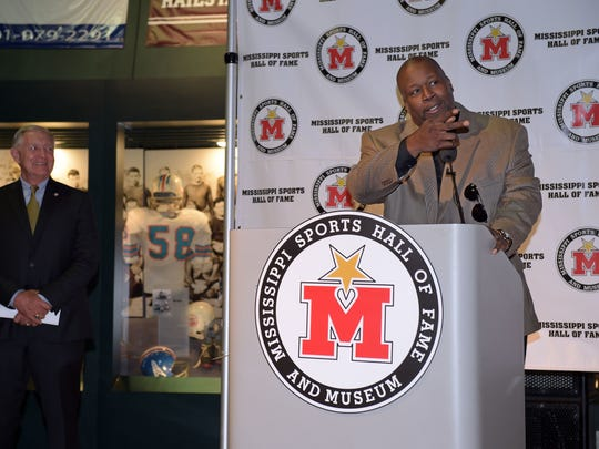 Marcus Dupree speaks at a news conference announcing the induction of six people into the Mississippi Sports Hall of Fame. Marcus Dupree speaks at a press conference announcing his and five others induction into the Mississippi Sports Hall of Fame at the Mississippi Sports Hall of Fame Museum in Jackson Thursday.