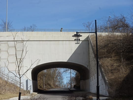 The portion of the Lamar Lundy Bridge that runs over South First Street in Richmond is one of several structurally deficient bridges in Wayne County.