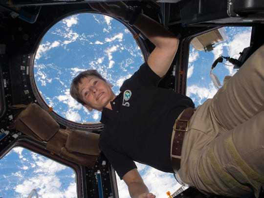 NASA Astronaut Peggy Whitson on the International Space Station in December 2016.