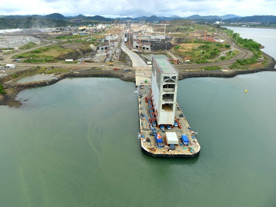 A gate for the new locks at the Panama Canal waits