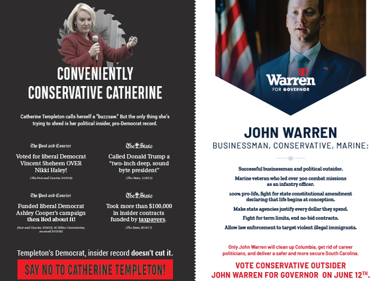 John Warren's campaign has mailed an ad to voters criticizing