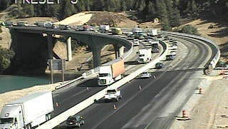 A California Department of Transportation traffic camera shows backups on Interstate 5 in Lakehead.