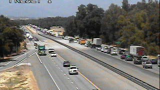 Traffic is backed up at Riverside Drive on Interstate 5 heading north due to multiple traffic collisions.