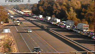 A California Department of Traffic camera shows a backup on northbound Interstate 5 south of Knighton Road after a crash at the intersection.