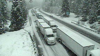 This Caltrans camera footage shows Sims Road just south of the Siskiyou County line today along Interstate 5. Multiple vehicles have crashed near there, spurring an emergency road closure, officials said.