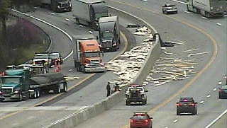 Lumber spilled over on Interstate 5 freeway near Vollmers.