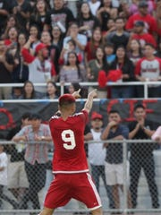 Fred Zaragoza of Desert Mirage High School celebrates his goal with the home crowd. Desert Mirage is up 2-0 against Shadow Hills at half time.