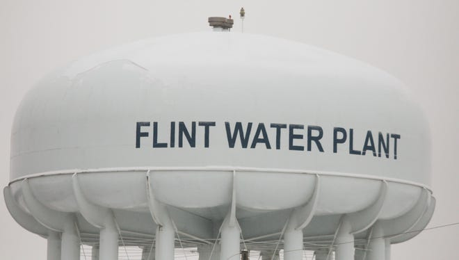 A water tower at the Flint Water Treatment Plant.