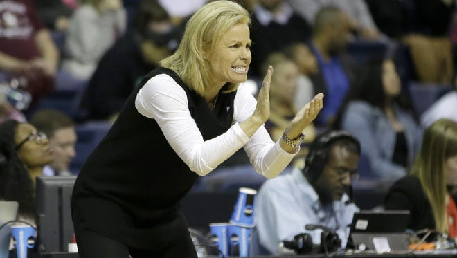 FSU head coach Sue Semrau claps after her team scored against South Carolina. Florida State head coach Sue Semrau claps after her team scored against South Carolina during the first half of a regional final game of the women's NCAA college basketball tournament, Monday, March 27, 2017, in Stockton, Calif.
