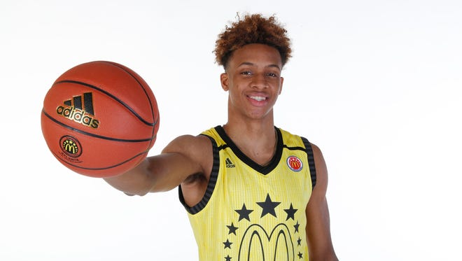 McDonalds High School All American forward Romeo Langford (22) poses for photos on portrait day at the Omni Hotel.