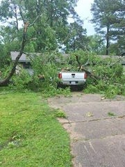 Storm damage in the Country Place neighborhood of north
