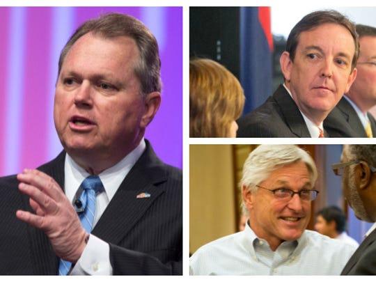 Gubernatorial candidates (clockwise from left) Scott Smith, Ken Bennett and Fred DuVal.