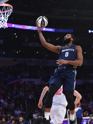 Andre Drummond #0 of the Detroit Pistons competes in the 2018 Taco Bell Skills Challenge at Staples Center on February 17, 2018 in Los Angeles, California.