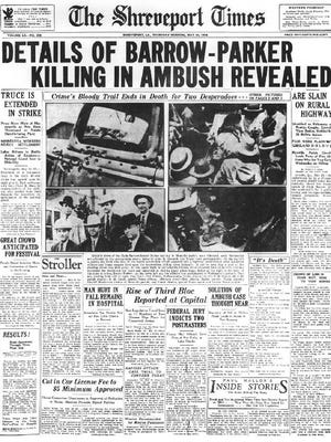 1934 Front page from The Shreveport Times about the Barrow-Parker ambush.
