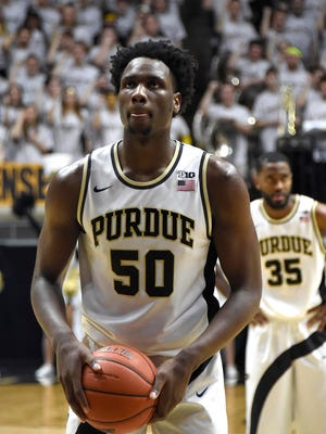 Purdue Boilermakers forward Caleb Swanigan (50) prepares to shoot a free throw against the Wisconsin Badgers at Mackey Arena. Purdue won the game 91-80.